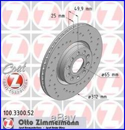 2 ZIMMERMANN Sport Bremsscheiben Ø312mm vorne VW Passat 3C Golf 5 + 6 Touran 1T