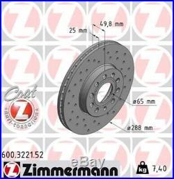2 ZIMMERMANN Sport Bremsscheiben vorne Ø288mm VW Touran 1T Golf Plus 5 6 Audi A3