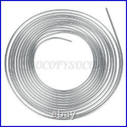 2pcs 25ft Coil Roll of 3/8 OD Steel Zinc Silver Brake Fuel Line Hose Tubing Kit