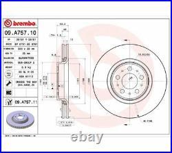 2x BREMBO Brake Disc COATED DISC LINE 09. A757.11