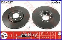 2x Original TRW Bremsscheibe Bremsscheibensatz vorne Ø288mm belüftet // DF4027
