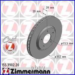 2x ZIMMERMANN Brake Disc COAT Z 155.3902.20