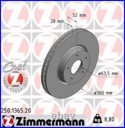 2x ZIMMERMANN Bremsscheibe Bremsscheiben Satz Bremsen COAT Z Vorne 250.1365.20