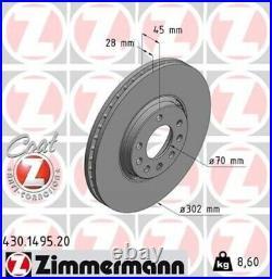 2x ZIMMERMANN Bremsscheibe Bremsscheiben Satz Bremsen COAT Z Vorne 430.1495.20