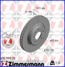 2x ZIMMERMANN Bremsscheibe Bremsscheiben Satz Bremsen COAT Z Vorne 610.1199.20