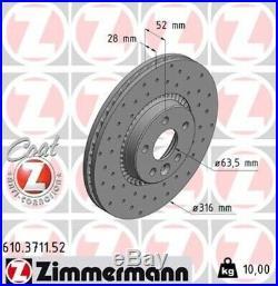 2x ZIMMERMANN Bremsscheibe Bremsscheiben Satz Bremsen SPORT COAT Z