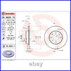BREMBO 2x Bremsscheiben Innenbelüftet beschichtet 09.8635.11
