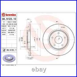 BREMBO 2x Bremsscheiben Voll beschichtet 08. N123.11