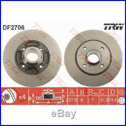 TRW 2x Bremsscheiben Voll lackiert schwarz DF2706