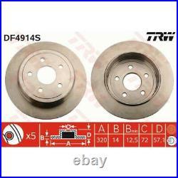 TRW 2x Bremsscheiben Voll lackiert schwarz DF4914S