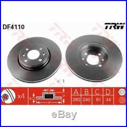 TRW 2x Bremsscheiben belüftet lackiert schwarz DF4110