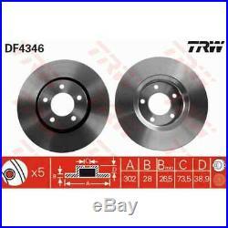 TRW 2x Bremsscheiben belüftet lackiert schwarz DF4346