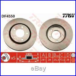 TRW 2x Bremsscheiben belüftet lackiert schwarz DF4550