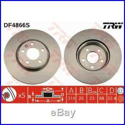TRW 2x Bremsscheiben belüftet lackiert schwarz DF4866S